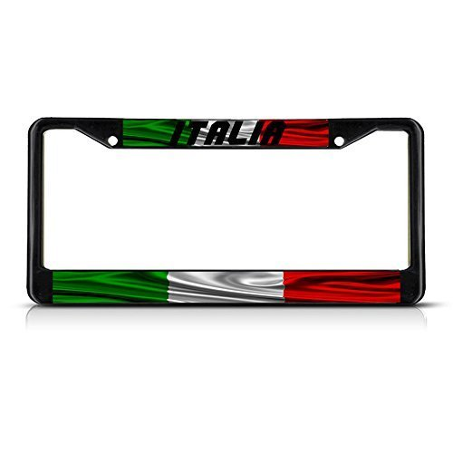 Novelty License Plate Frame Tag for Men Italia, Italy Flag Italy Black Car Tag Covers Chrome Plate Frame by Teisyouhu