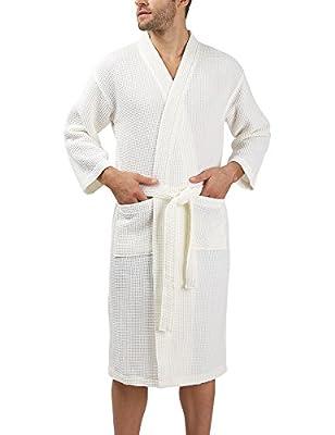 David Archy Men's Waffle Bathrobe Kimono Spa Robe