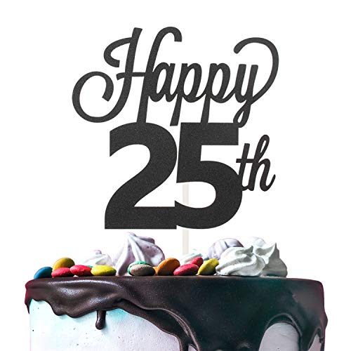 25th Happy Birthday Cake Topper Premium Double Sided Black Glitter Cardstock Paper Party Decoration - 6'' x 8'' Twenty-fifth Bday Topper.