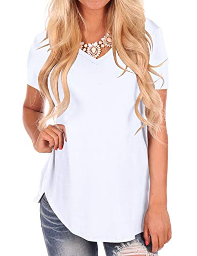 Women's Deep V-Neck Short Sleeve Shirt Women Tees Tops White S