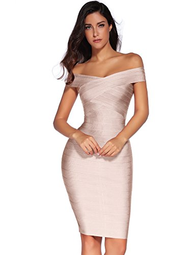 Rayon Dress Womens Party (Meilun Women's Rayon Strap V-Neck Bandage Bodycon Party Dress (S, Beige))