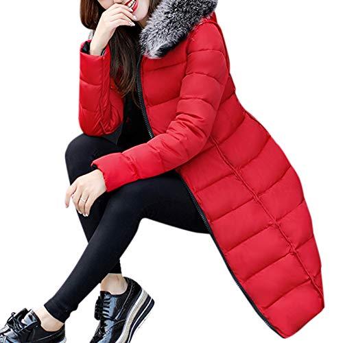 Edtara Abrigo Largo de Invierno para Las Mujeres, Abrigo cálido con Cuello de Felpa Invierno cálido, Abrigo Reversible de...