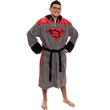 Robe Factory Mens Red Son Fleece Hooded Long Robe Gray O/S