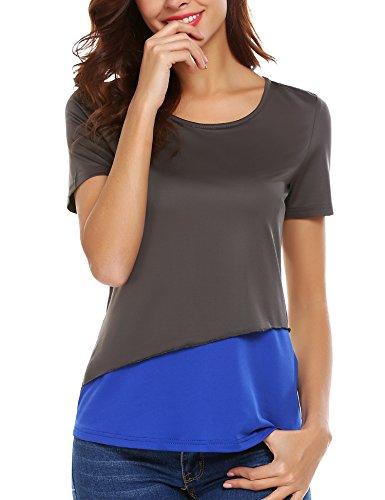 Unibelle Women's Summer Tops O Neck Contrast Color Casual Juniors Tees T (Contrast Neck T-shirt)