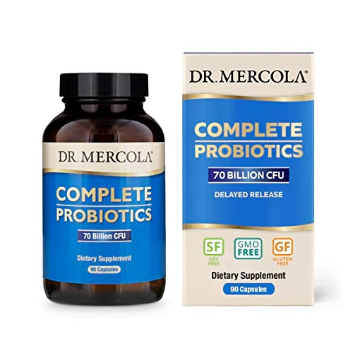 Dr. Mercola, Complete Probiotics (70 Billion CFU) 90 Servings (90 Capsules), Non GMO, Soy-Free, Gluten-Free