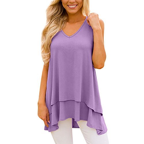 Sunhusing Women's Solid Color V-Neck Sleeveless Loose Tank Tops Irregular Ruffle Layered Hem Tunic Top Purple