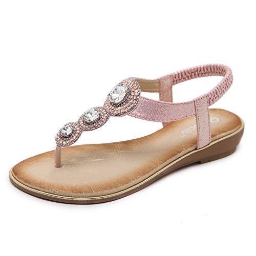 Meeshine Womens Flat Sandals Summer Rhinestone Comfort Bohemian Flip Flop Shoes Pink US - Pink Sandals Beaded