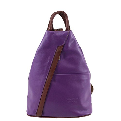 Women's Soft Genuine Leather Vera Pelle Stamp Rucksack Backpack Purple/Brown