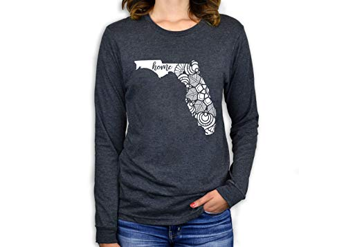 Bourne Southern Florida State Home Mandala Floral Women's Graphic Printed Fashion T-Shirt (Medium, Charcoal Heather Long Sleeve)