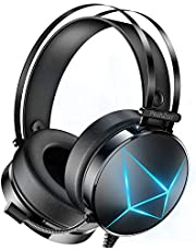 PeohZarr Gaming Headset Xbox one Headset PS4 Headset with 7.1 Surround Sound PC Headset with Mic & Light, Over Ear Headphones for Xbox One Controller(Adapter Not Included), PS4, PC, Nintendo Switch