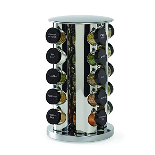 (Kamenstein 30020 20-Jar Revolving Countertop Spice Tower with Free Spice Refills for 5 Years, (Certified Refurbished))