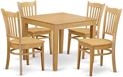 OXGR5-OAK-W 5 PC Kitchen Table set – Kitchen dinette Table and 4 Dining Chairs