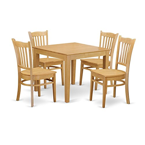 (East West Furniture OXGR5-OAK-W 5 Piece Kitchen Dinette Table and 4 Chairs Set)