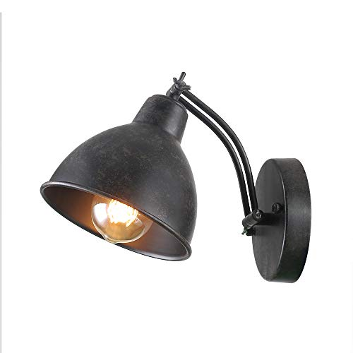 Rust Wall Lamp - Anmytek Adjustable Swing Wall Lamp Arm Metal Wall Light Sconce with Metal Shade Antique Black Finished Bedroom Reading Lights Industrial Edison Sconce Lighting Fixtures 1-Light (W0041)