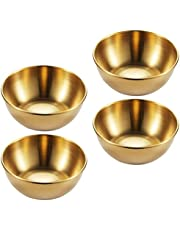 DOITOOL 4pcs Stainless Steel Sauce Dishes Round Seasoning Dishes Sushi Dipping Bowls Ramekins Saucers Bowls Appetizer Plates Gold