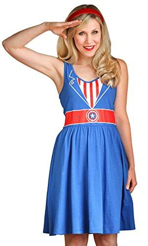 Her Universe Captain America Juniors Costume Dress (Medium), Blue