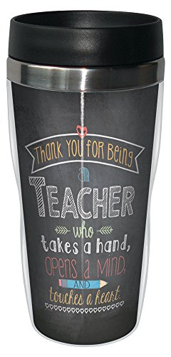 Tree-Free Greetings 78219 Jo Moulton Teacher Mind and Heart Travel Mug, Stainless Lined Coffee Tumbler, 16-Ounce, Gift for Teacher Appreciation - Heart Travel Mug