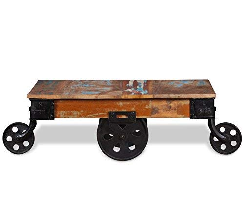 Industrial Coffee Table Vintage Cart Furniture Rustic Solid Reclaimed Wood 4 Small Metal Wheels Legs Wooden Handmade Indian Retro Urban Style Large Antique