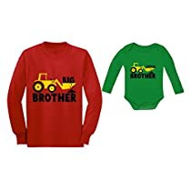 Tstars Big Brother Little Brother Long Sleeve Shirts Tractor Loving Boys Siblings Set Big Brother Red 2T / Little Brother Red Newborn