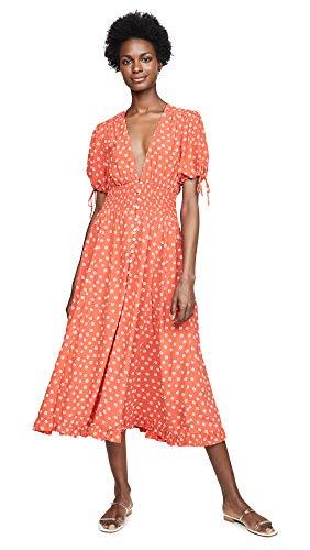 - Cleobella Women's Olivia Dress, Salsa, Red, Floral, Orange, X-Small