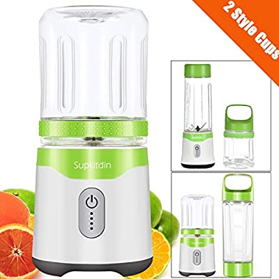 Personal Blender, Supkitdin Portable Blender for Shakes and Smoothies,With 2 FDA Approved Cups, Rechargeable, Powerful 6 Blades for Superb Mixing