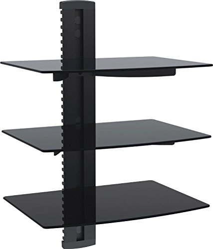 WALI Floating Shelf with Strengthened Tempered Glass for DVD Players/Cable Boxes/Games Consoles/TV Accessories (CS203), 3 Shelf, Black