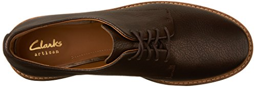 Clarks Womens Glick Darby Flat In Pelle Marrone Scuro Metallizzata
