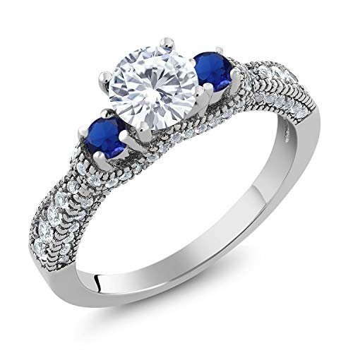 Round Moissanite 3 Stone Ring - 925 Sterling Silver 3-Stone Ring Forever Brilliant (GHI) Round 0.50ct (DEW) Created Moissanite by Charles & Colvard and Simulated Sapphire (Size 6)