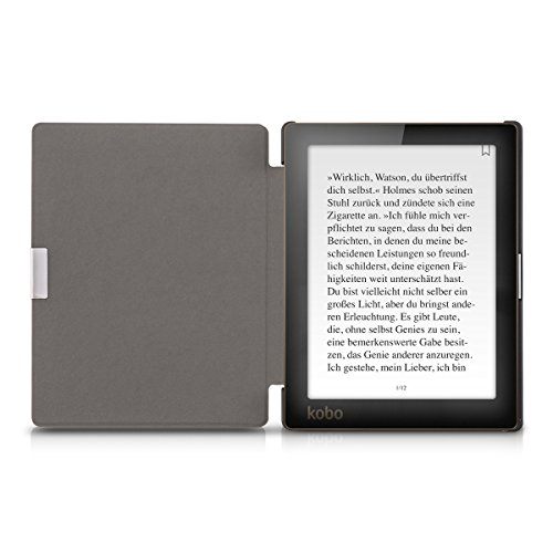 kwmobile Case for Kobo Aura Edition 1 - Book Style PU Leather Protective e-Reader Cover Folio Case - white black by kwmobile (Image #4)