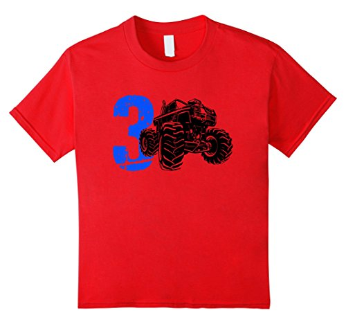 Kids 3 Year Old Monster Truck 3rd Birthday TShirt 4 (Kids Monster Outfit)