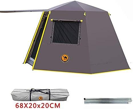 WOOLIY UV Hexagonal Poste de Aluminio automático Exterior Camping Salvaje Carpa Grande 3-4persons toldo jardín pérgola 245 * 245 * 165 CM,Brown: Amazon.es: Deportes y aire libre