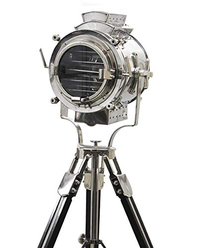 - Vintage Modern Collectible Chrome Searchlight Home Black Screw Tripod Nautical Spotlights (Floor Lamp 72