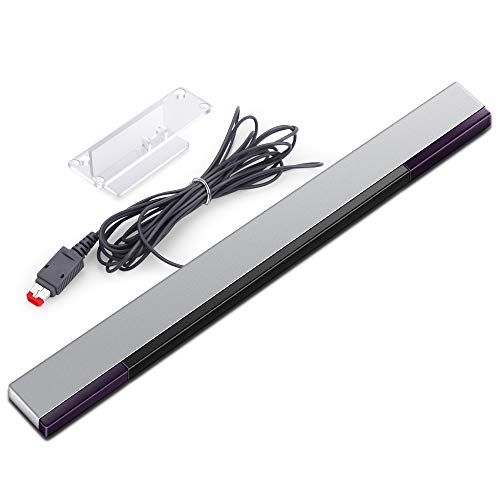 KIMILAR Replacement Wired Infrared IR Ray Motion Sensor Bar Compatible Nintendo Wii and Wii U Console (Silver/Black)