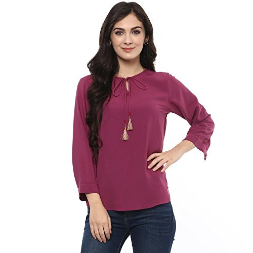 cd41a3f65dc4d Pannkh Women s Purple Polyester Relaxed Fit Plain Solid Top  Amazon ...