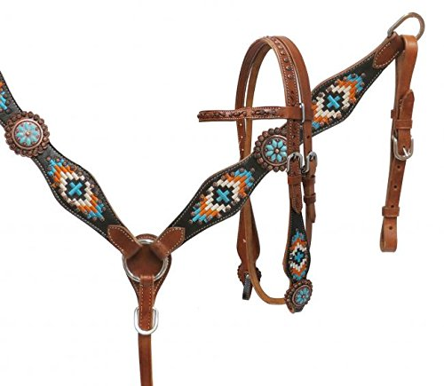 Showman TURQUOISE Navajo Embroidered Headstall/Breast Collar Set ()