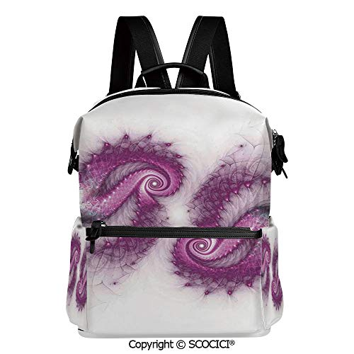 SCOCICI Medium Backpack for School&Travel,Psychedelic Bizarre Helix Lettering Pattern with Illuminations Futuristic Image,L11.4xW6.3xH15 Inches