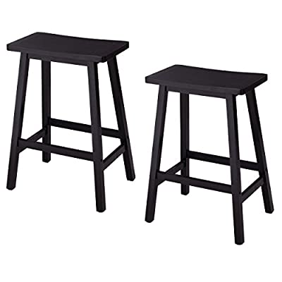 Costway Wood 24-Inch Saddle Seat Counter Stool Vintage Counter Height Barstool, Black,Set of 2