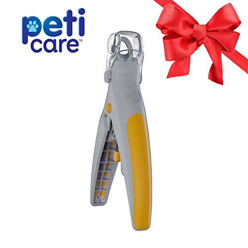 Allstar Innovations PetiCare LED Light Pet Nail Clipper- Great for Trimming Cats & Dogs Nails & Claws, 5X Magnification That Doubles as a Nail Trapper, Quick-Clip, Steal Blades