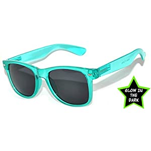 Classic Vintage Retro 80's Sunglasses for Mens or Women Colored Frame (Glow in the Dark Smoke Lens Turquoise, PC Lens)