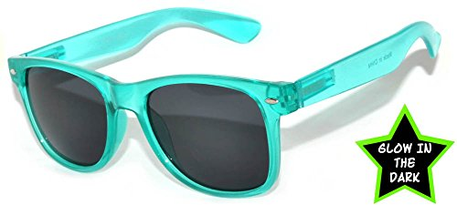 80's Style Classic Vintage Sunglasses with Clear Lens Colored Frame Uv Protection (Glow in the Dark Smoke Lens Turquoise, PC Lens) - The Glow Dark Lenses In