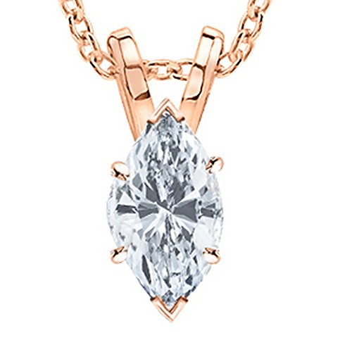 - 0.5 Carat 14K Rose Gold Marquise Diamond Solitaire Pendant Necklace D Color SI2 Clarity
