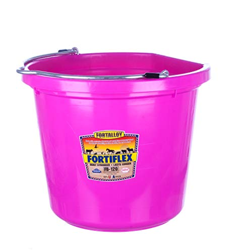 - Fortiflex Flat Back Feed Bucket for Dogs/Cats and Small Animals, 20-Quart, Hot Pink