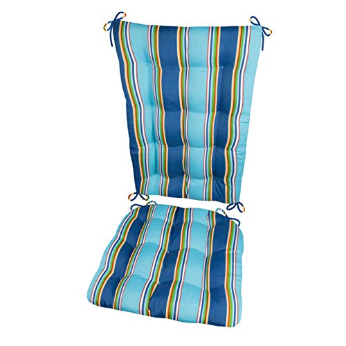 Barnett Products Porch Rocker Cushions - Westport Cobalt - Indoor/Outdoor: Fade Resistant, Mildew Resistant - Latex Foam Fill - Reversible (Blue)