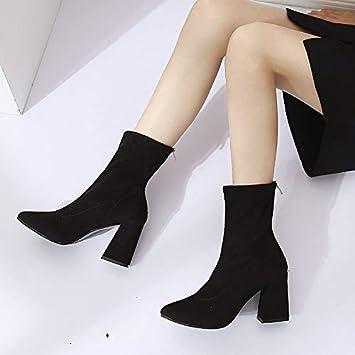 mirada detallada zapatos para baratas colección de descuento Shukun Botines Botines de tacón Alto, Botas elásticas Negras ...