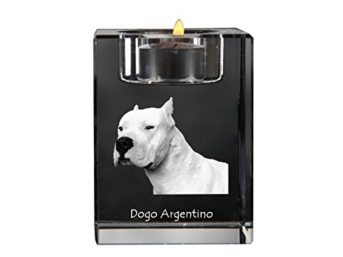 Dogo Argentino, crystal candlestick, candle holder with dog, souvenir, limited edition