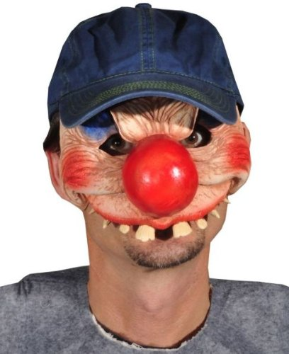 Costume Mask: Clowning Around - Product Description - A Clown Character Featuring An Oversized Nose In A Latex Half Mask Design With Attached Baseball Cap For Adjustability. Great For Talking And Drinking While In Character. One Size Fits Most A ... (Character Cap Half Mask)