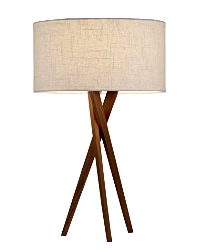 Adesso 3226-15 Table Lamp Brooklyn - Smart Outlet Compatible, Tripod Base, Wooden Lighting Accessory Home Decor Items, 29.5