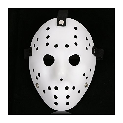 CASACLAUSI Jason Mask Cosplay Halloween Costume Mask Prop Horror Hockey (One Size, Pure White)]()