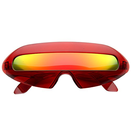 zeroUV - Retro Futuristic Cyclops Color Mirroed Lens Wrap Around Sunglasses (Crystal Red / Fire - Lenses Cyclops Contact