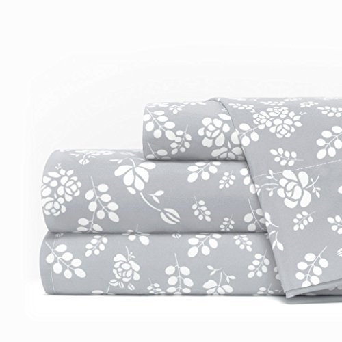 Team Collection Basics (Egyptian Luxury 1600 Series Hotel Collection Basic Floral Pattern Bed Sheet Set - Deep Pockets, Wrinkle and Fade Resistant, Hypoallergenic Sheet and Pillowcase Set - Queen - Light Gray/White)